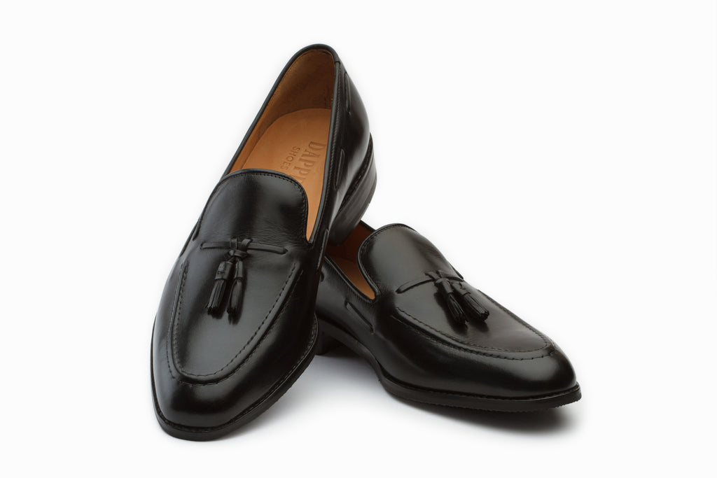 Black Tassel Loafers with Cord Stitch