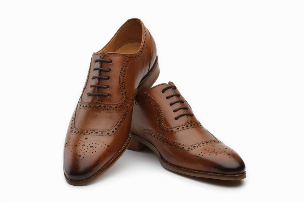 Austin Leather Oxford Brogue Shoes - Tan
