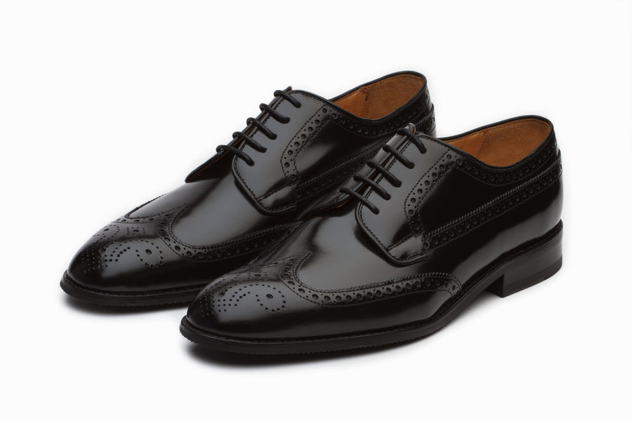 Wingtip Derby Formal Leather Shoes - High Gloss Black