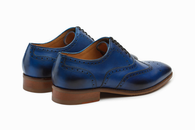 Blue Leather Wingtip Brogue Oxford Shoes