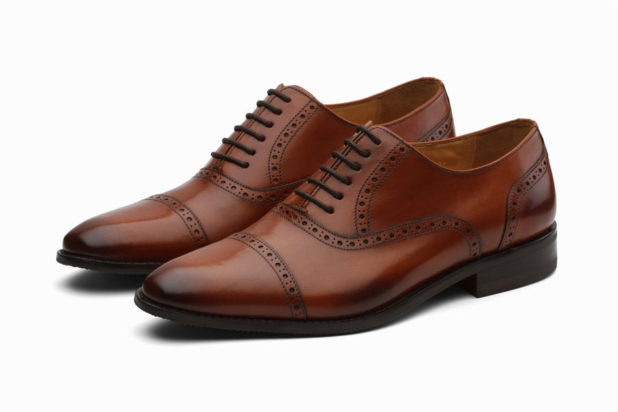 Toecap Brogue Oxford Leather Shoes - Cognac