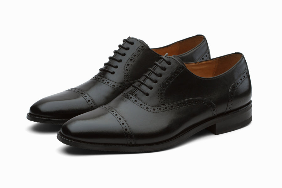 Toecap Brogue Oxford Leather Shoes - Black ( 7 & 10 Only )