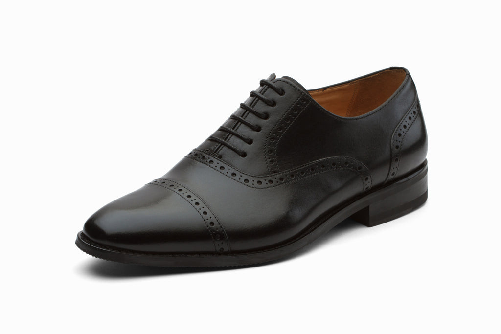 Toecap Brogue Oxford Leather Shoes - Black
