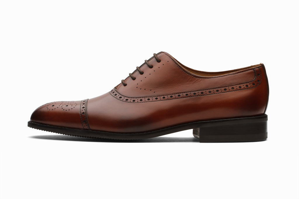 Weir Panelled Leather Oxford -Cognac