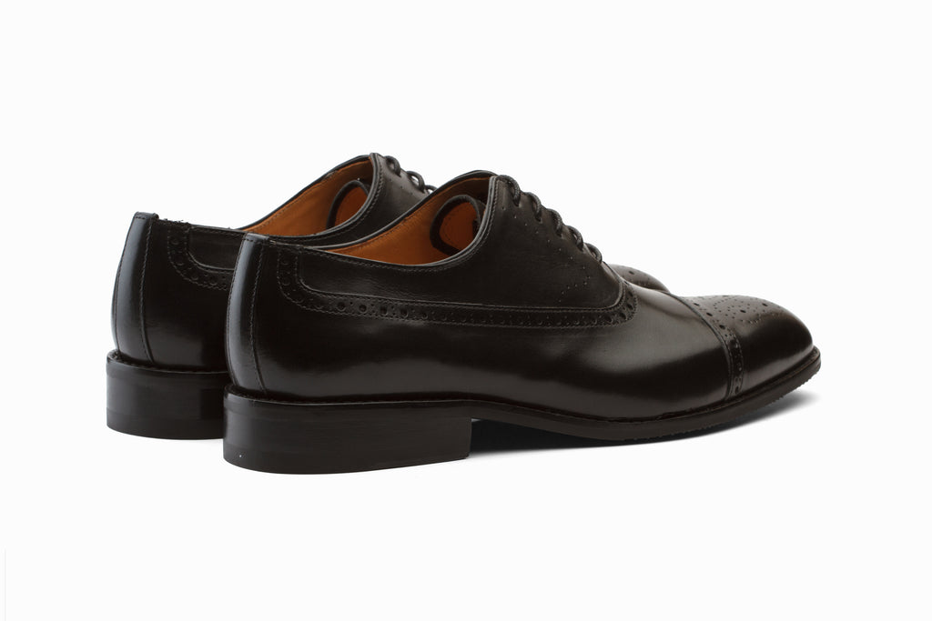 Weir Panelled Leather Oxford -Black