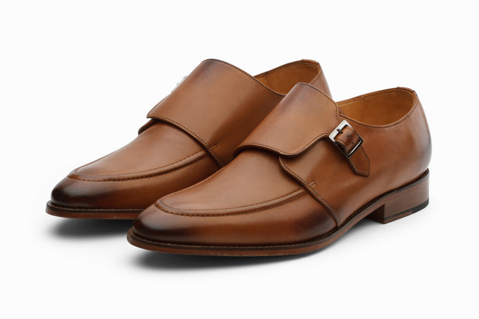 Single Monkstrap Leather Shoes - Tan ( 9 & 10 Only )