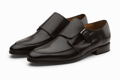 Single Monkstrap Leather Shoes - Black (  UK 10&  12 ONLY )