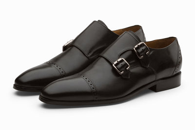 Black Double Monkstraps Leather Shoes (UK 12 ONLY )