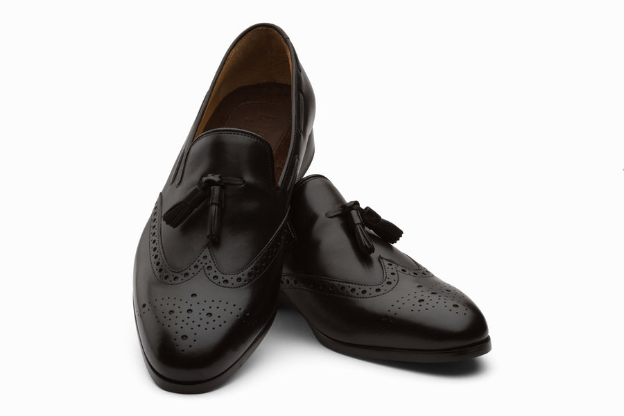 Black Leather Wingtip Tassel Loafers