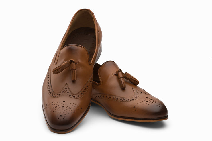 Tan Leather Wingtip Tassel Loafers