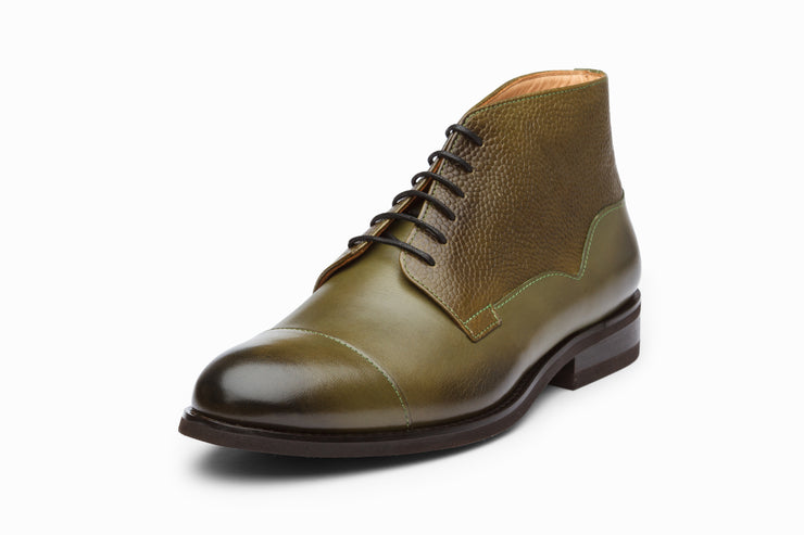 Scotch Grain Toecap Leather Boots - Olive