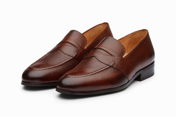 Brown Grain Saddle Strap Penny Loafers