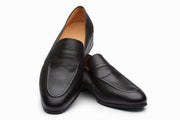 Black Grain Saddle Strap Penny Loafers