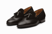 Leather Wingtip Tassel Loafers - Black