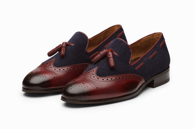 Leather Wingtip Tassel Loafers - Burgundy/Navy