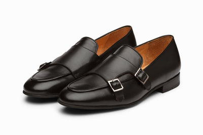 Double Monk Belgian Loafers - Black