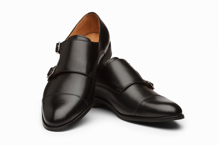 Toe Cap Double Monkstrap Black