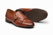 Double Monk Belgian Loafers - Cognac