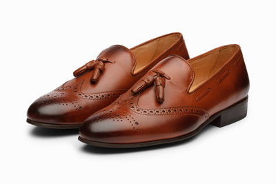 Cognac Leather Wingtip Tassel Loafers