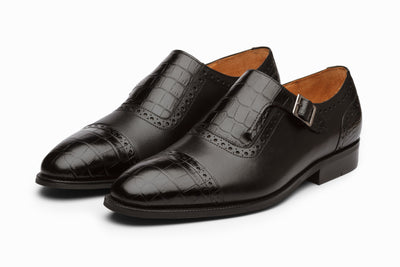 Cap Toe Single Monkstrap - Croc Black