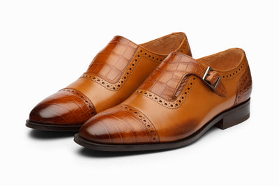 Cap Toe Single Monkstrap - Croc Tan