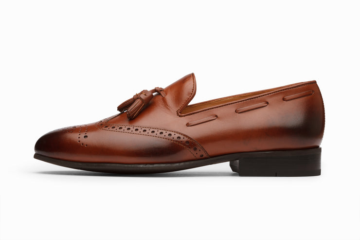 Cognac Leather Wingtip Tassel Loafers (UK 9 & 10 Only)