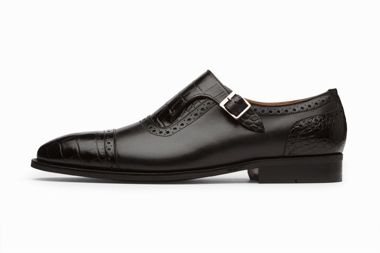 Cap Toe Single Monkstrap - Croc Black (UK 6 & 9 Only)