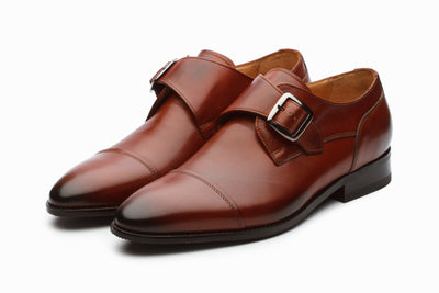 William Leather Monkstrap Shoes - Dark Cognac