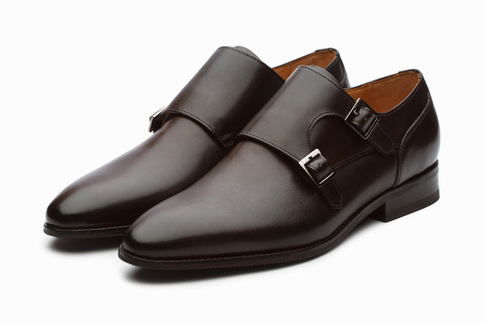 Manhattan Leather Monkstrap Shoes - Dark Brown
