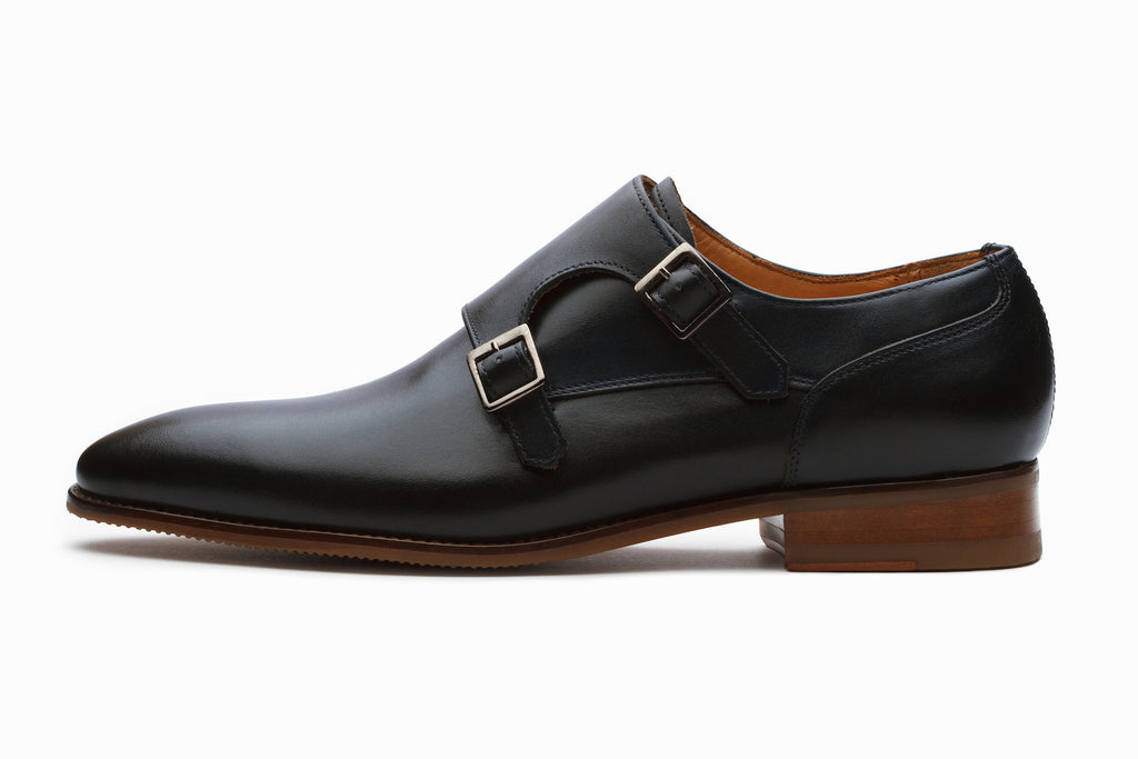 Manhattan Leather Monkstrap Shoes - Navy