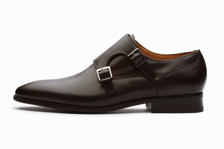 Manhattan Leather Monkstrap Shoes - Dark Brown ( UK  11 Only)