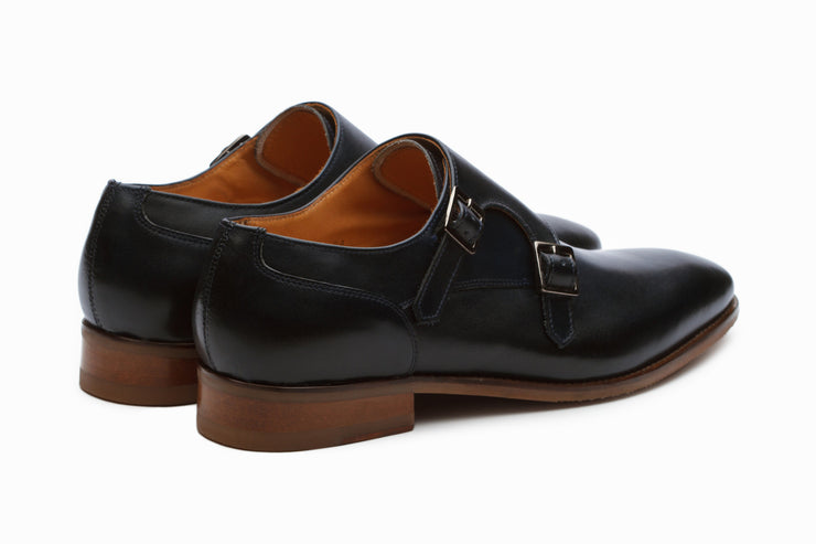 Manhattan Leather Monkstrap Shoes - Navy (UK 8, 10 &11 ONLY )