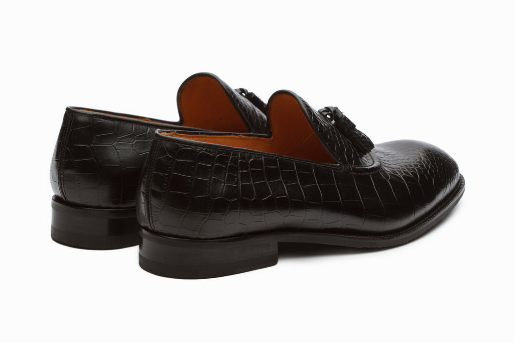 Black Crocodile Tassel Loafers