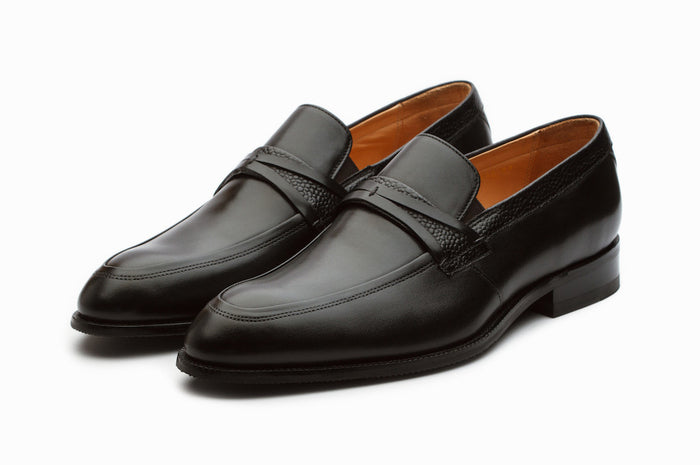 Lorenzo Black Leather Loafers