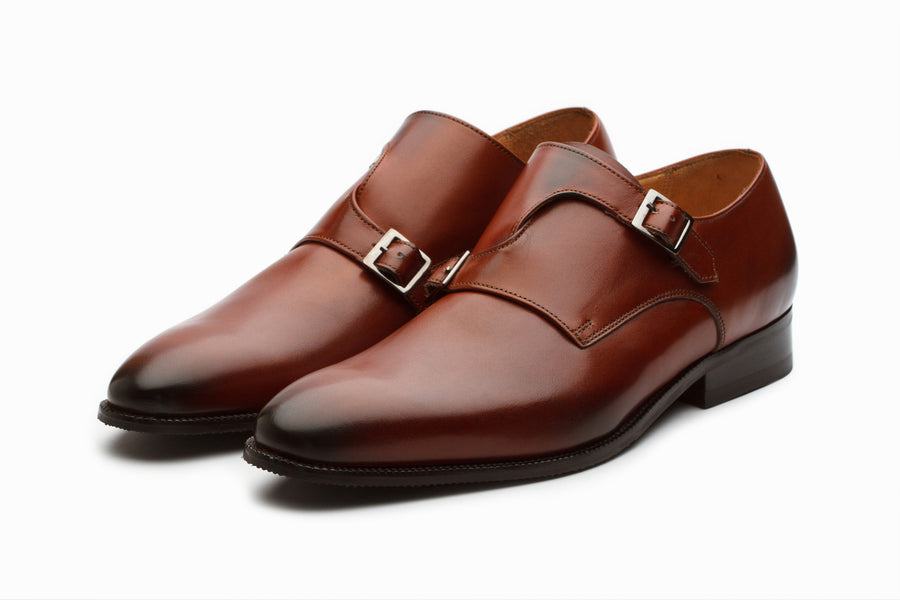 Bristol Monkstrap Leather Shoes - Dark Cognac