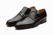 Bristol Monkstrap Leather Shoes - Black (UK 7 & 12 ONLY )