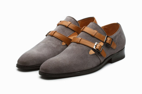 Suede Monkstrap Shoes - Tan/Grey