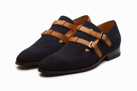 Suede Monkstrap Shoes - Navy/Tan