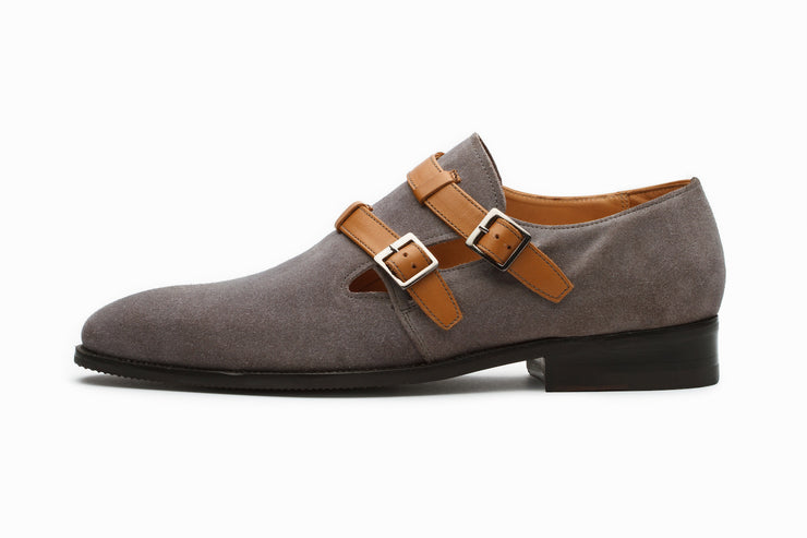 Suede Monkstrap Shoes - Tan/Grey (UK 7,9 & 10 ONLY )