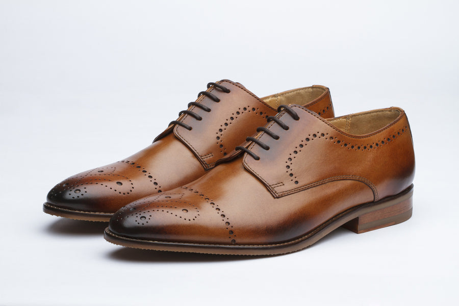 Brogue Derby with Perforation Leather Shoes - Tan ( 8 & 10 only)