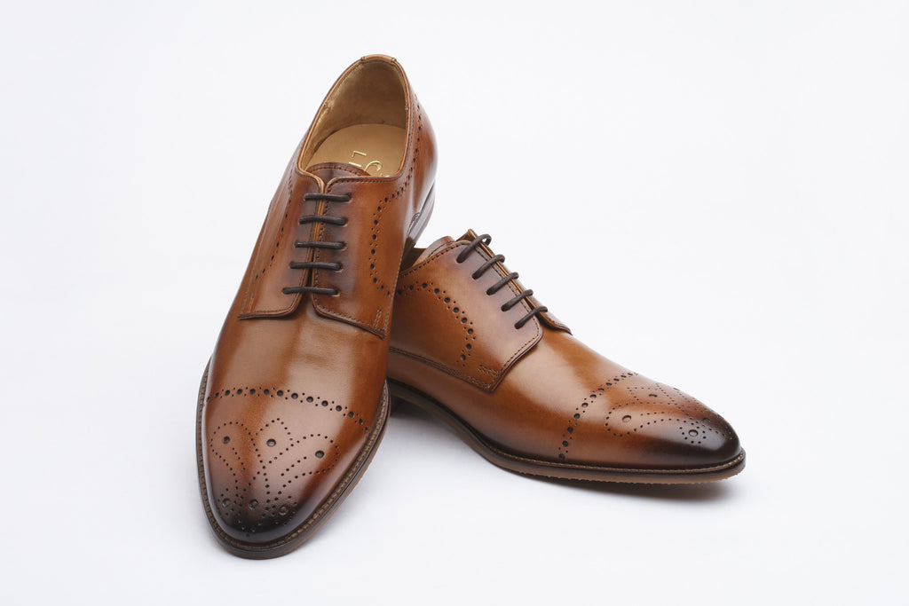 Brogue Derby with Perforation Leather Shoes - British Tan