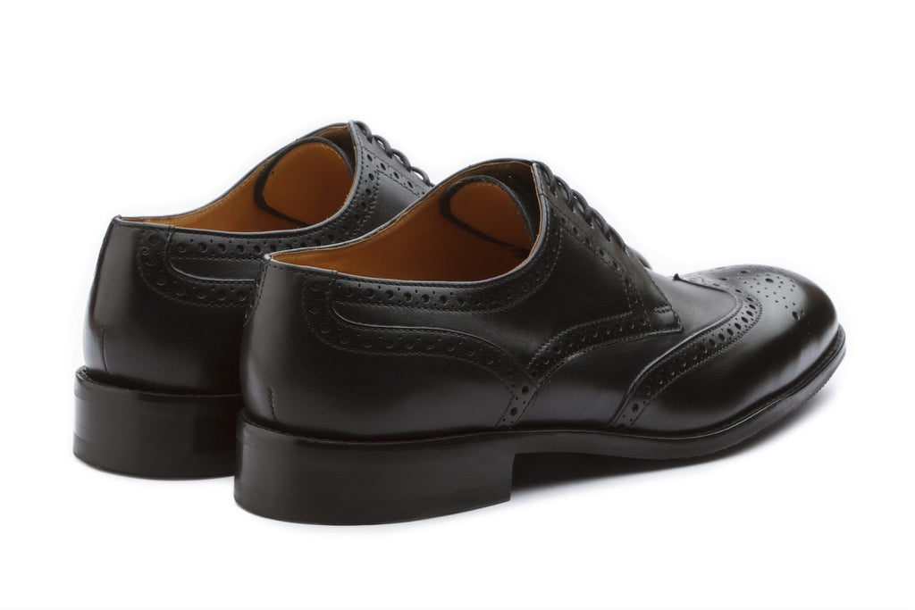 Derby - Black Wingtip Brogue Derby Leather Shoes