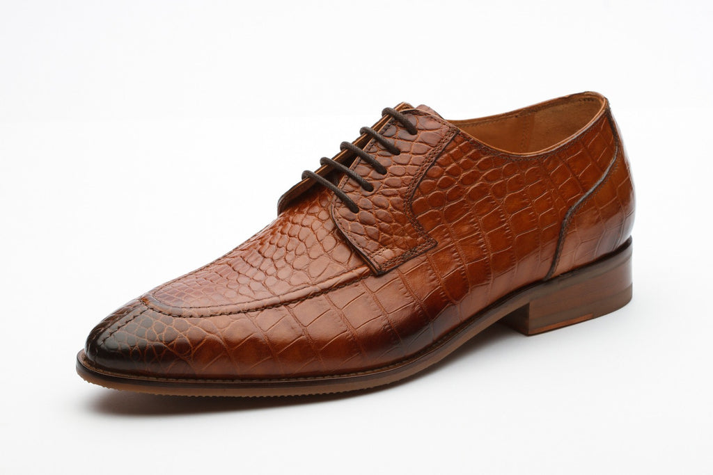 Derby - Dover Leather Derby Shoes - Crocodile Tan