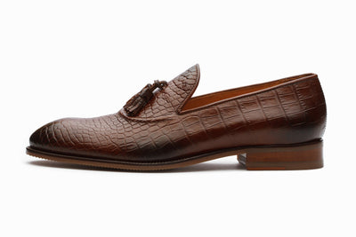 Loafers - Brown Crocodile Tassel Loafers