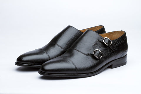 Monkstraps - Toecap Double Monk - Crocodile Black