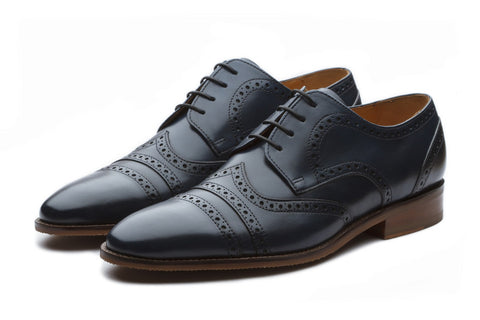 Oxfords - Albert Toecap Derby Leather Shoes - Navy