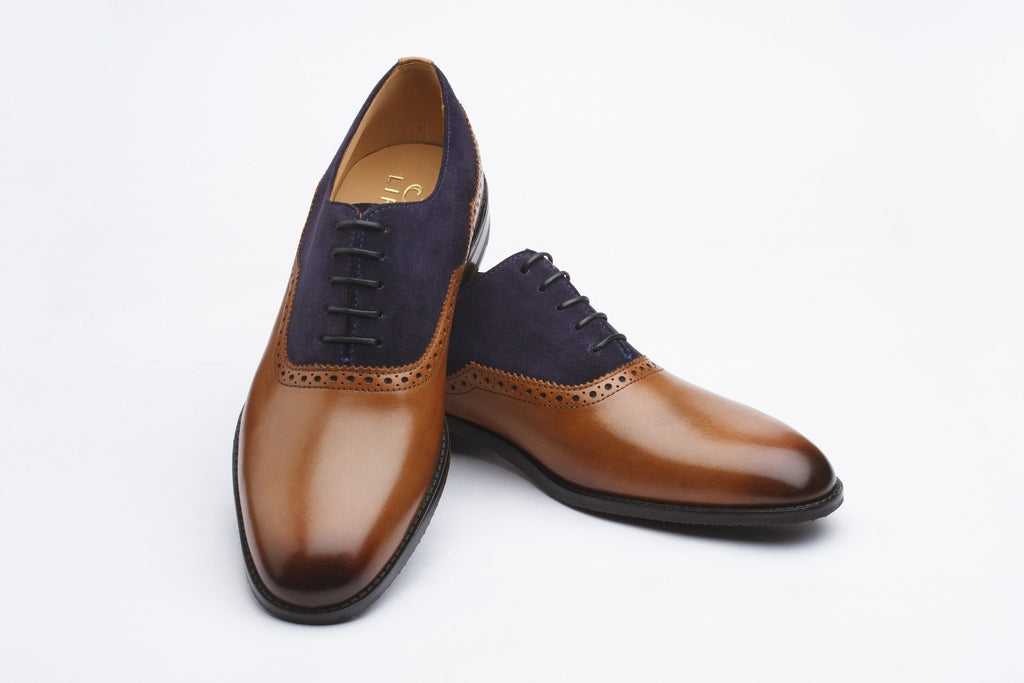 Oxfords - Combination Brogue Oxford - Tan & Navy