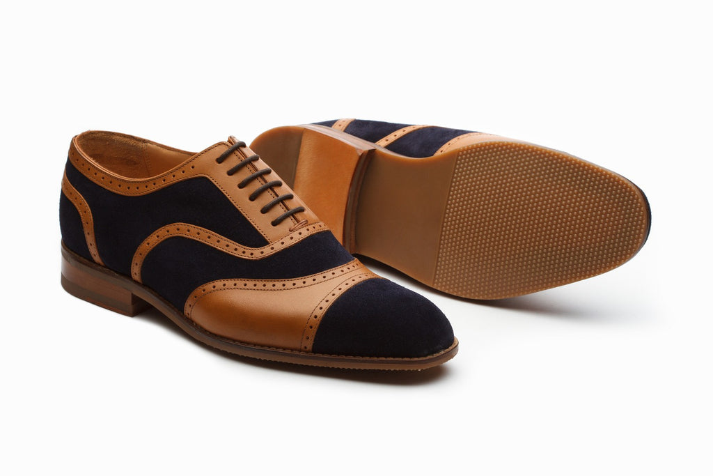 Oxfords - Henley Suede Spectator Oxford - Navy/Tan