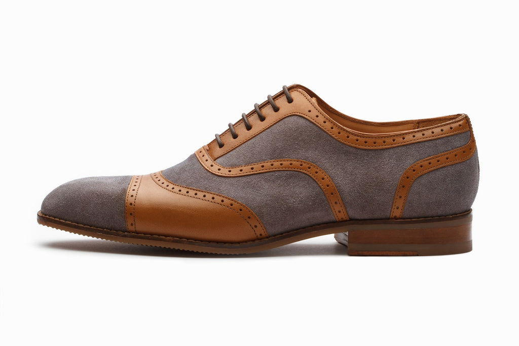 Oxfords - Henley Suede Spectator Oxford - Tan/Grey