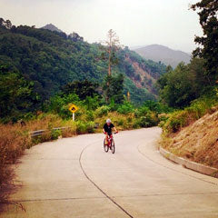 One of the many challenging climbs on Koh Samui's Maenam Soi 1. Samui Bicycle Tours.